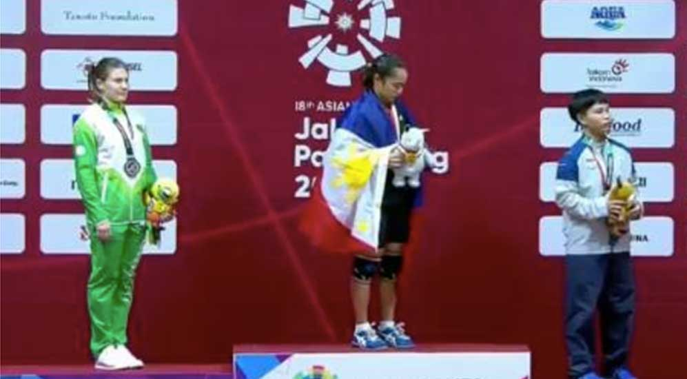 Hidilyn Diaz gives Philippines its first gold medal in 2018 Asian Games