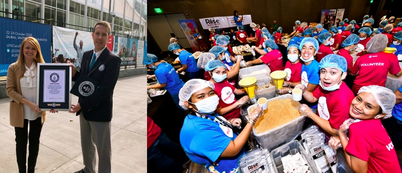 Globe Telecom volunteers join Rise Against Hunger in making history