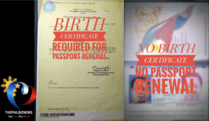 "DFA requires birth certificate for the renewal of ""older"" or non-electronic passports"