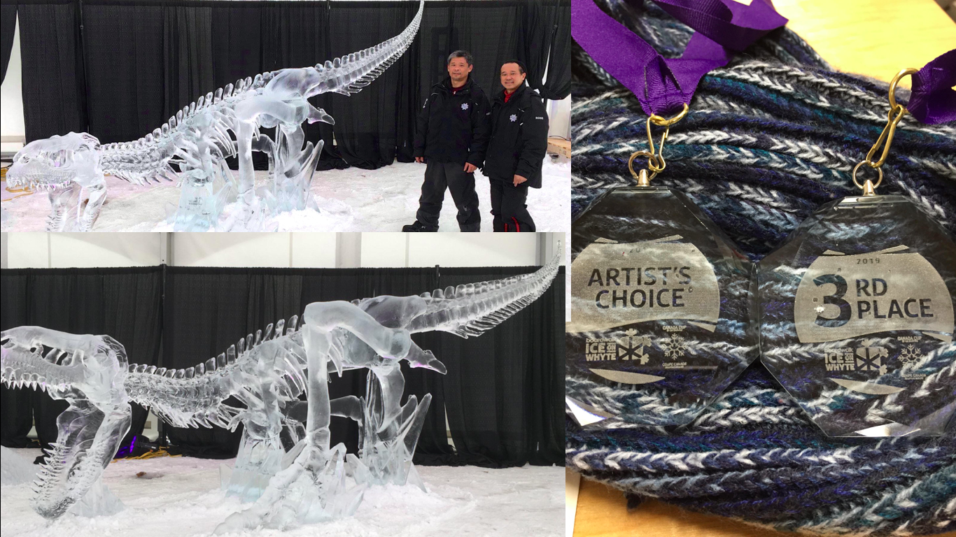 Filipino-Canadian ice sculptors win Artist's Choice anew and 3rd Place in Ice White Competition in Edmonton