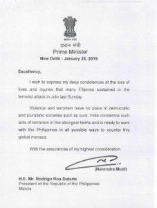 Indian Prime Minister Shri Narendra Modi extends sympathy to PH on Jolo bombing