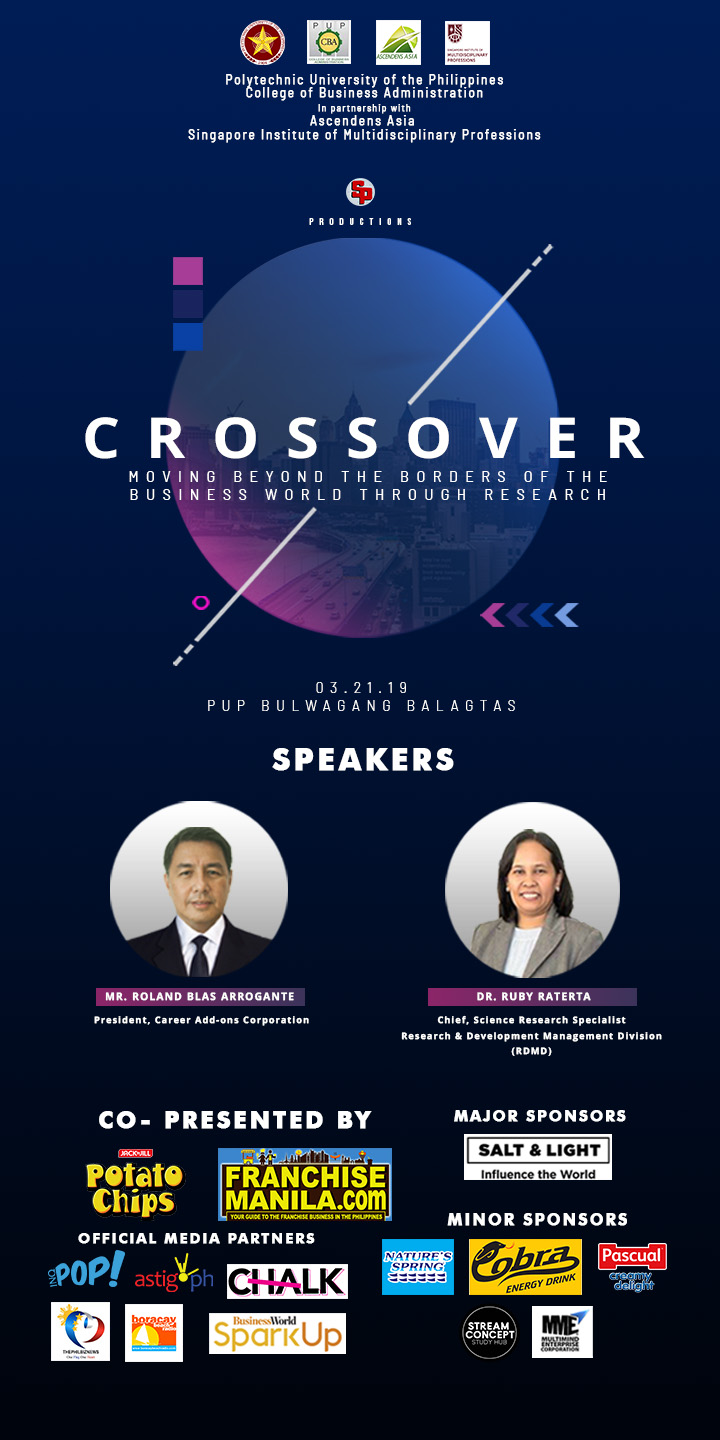 PUP- CBA PRESENTS CROSSOVER: MOVING BEYOND THEBORDERS OF THE BUSINESS WORLD THROUGH RESEARCH